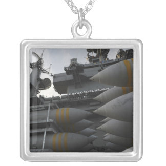 Stacked ordnance ready to be loaded silver plated necklace