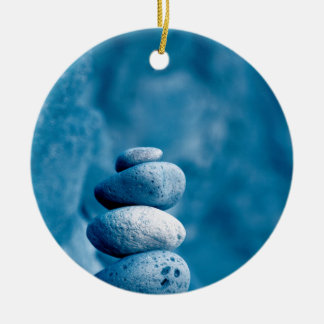 Stacked pebbles ceramic ornament