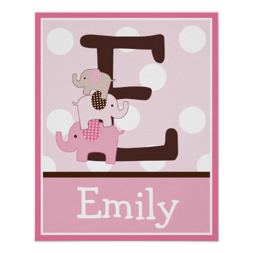 Stacked Pink Elephants Letter & Name Wall Poster