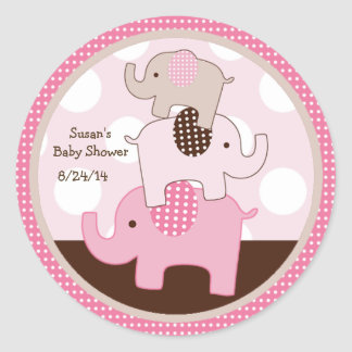 Stacked Pink Elephants Stickers/Cupcake Toppers Classic Round Sticker