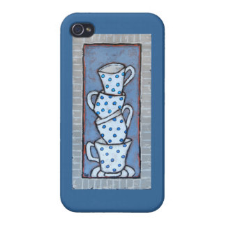 stacked polka dotted teacups iphone case