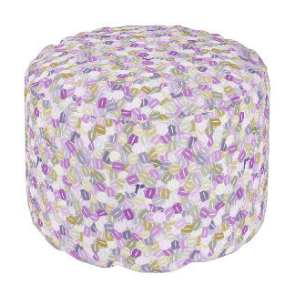 Stacked Purple and Lavender Hexagons Pouf