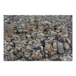 Stacked Rocks on the Beach 2 Poster