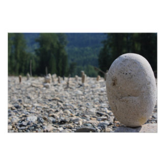 Stacked Rocks on the Beach Poster