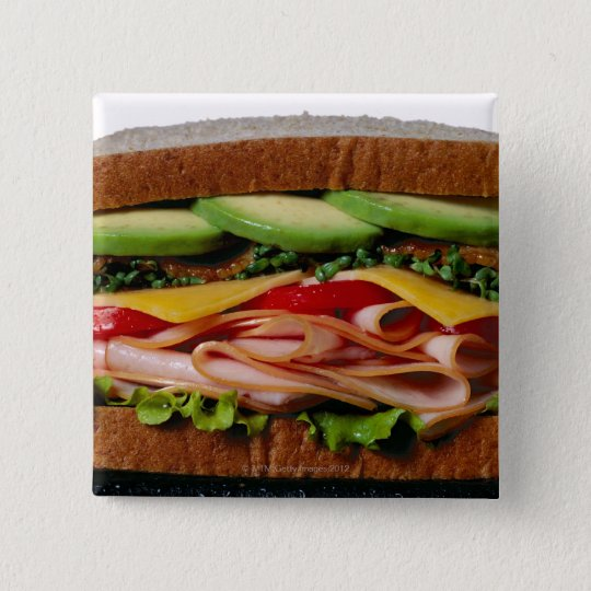 Stacked sandwich pinback button