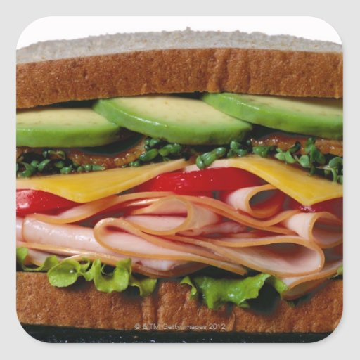 Stacked sandwich square sticker