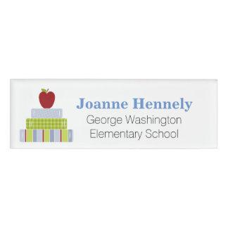 Stacked School Books Teacher's Custom Name Tag