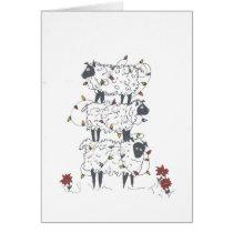 Stacked Sheep at Christmas Card