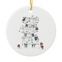 Stacked Sheep at Christmas Ceramic Ornament