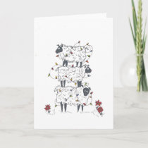 Stacked Sheep at Christmas Holiday Card