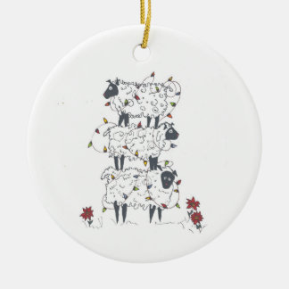Stacked Sheep at Christmas Double-Sided Ceramic Round Christmas Ornament