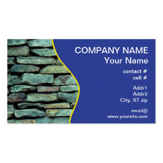 Stacked stone exterior wall business card