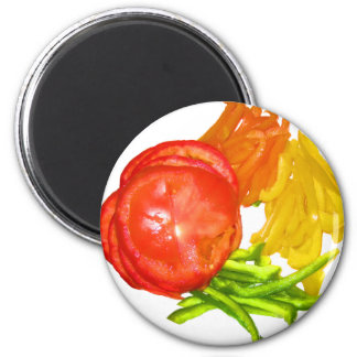 Stacked tomato with sliced peppers 2 inch round magnet