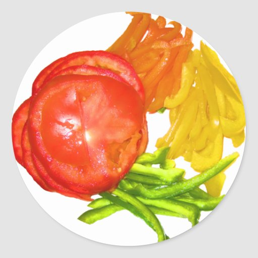 Stacked tomato with sliced peppers classic round sticker