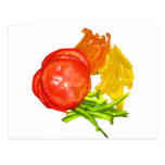 Stacked tomato with sliced peppers post cards