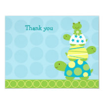 Stacked Turtle Frog Flat Thank You Note Cards
