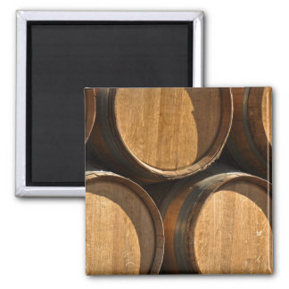 Stacked Wine Barrels 2 Inch Square Magnet