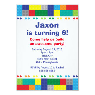 Stacking Bricks Boy's Birthday Party 4.5x6.25 Paper Invitation Card