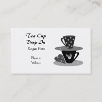 Stacking Teacups  Black and White Business Card