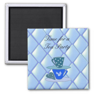 Stacking Teacups - Tea Party 2 Inch Square Magnet
