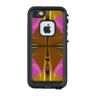 Stacks - Hot Pink and Rust Abstract with Your Text LifeProof FRĒ iPhone SE/5/5s Case
