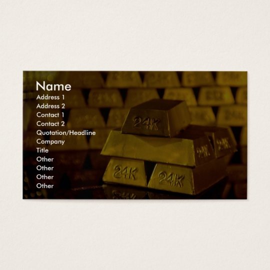 Stacks of gold bars business card