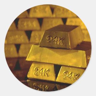 Stacks of gold bars classic round sticker