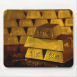 Stacks of gold bars mouse pads