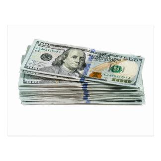 Stacks of hundred dollar bills postcard