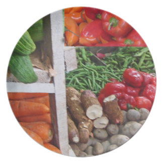 Stacks of Veggies in Cubes Art Mercado Melamine Plate