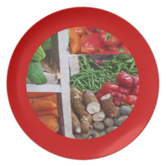 Stacks of Veggies in Cubes Art Mercado Plate