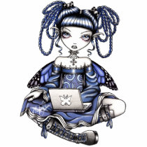 blue, fairy, lap, top, study, kids, children, faery, faerie, fae, fairies, pixie, fantasy, pigtails, art, myka, jelina, fine, magnet, characters, Photo Sculpture with custom graphic design