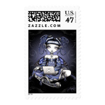 cute, blue, lap, top, fairy, art, postage, stamps, stacy, myka, jelina, fantasy, faery, faerie, fae, student, school, gothic, victorian, characters, Stamp with custom graphic design