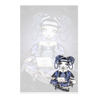 """""""Stacy"""" Cute Blue Lap Top Fairy Art Stationery"""