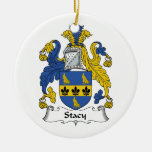 Stacy Family Crest Ceramic Ornament