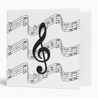 Staff and Treble Clef 3 Ring Binder
