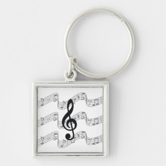 Staff and Treble Clef Silver-Colored Square Keychain