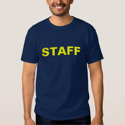 Staff-gold on dark blue tee