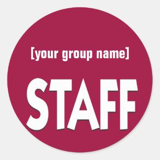 Staff identification badge custom classic round sticker