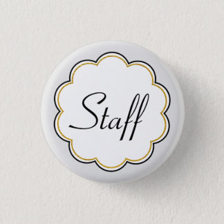 Staff Identification | Gold Border Scallop Party Pinback Button
