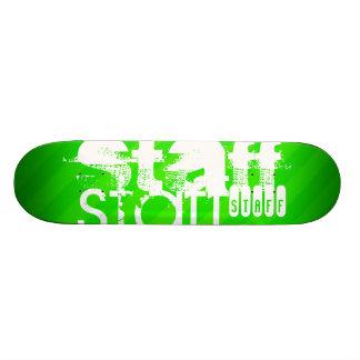 Staff; Neon Green Stripes Skateboard