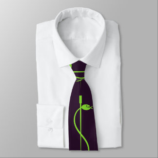 Staff of Asclepius Tie: Green Serpent Lives -black Neck Tie