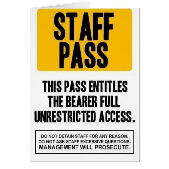 Staff Pass Card