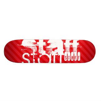 Staff; Scarlet Red Stripes Skateboard Deck