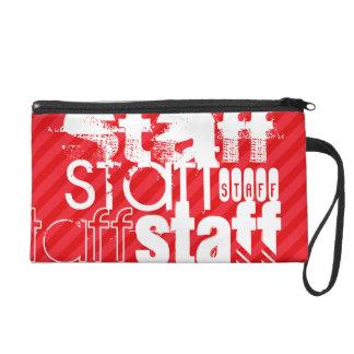 Staff; Scarlet Red Stripes Wristlet Purse