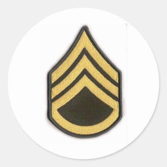 STAFF SERGEANT E-6 CLASSIC ROUND STICKER