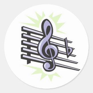 staff treble cleft music note design classic round sticker