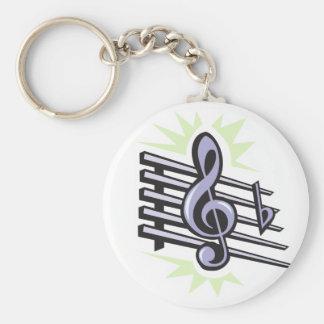staff treble cleft music note design basic round button keychain