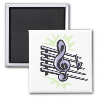 staff treble cleft music note design magnet