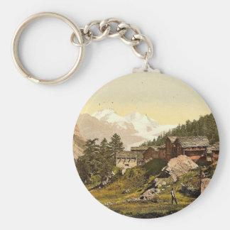 Staffel Alp and Rimpfischhorn, with chalets, Valai Basic Round Button Keychain